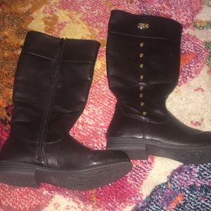 Michael Kors faux leather tall boots dark brown